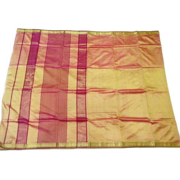 Golden and pink mix silk cotton Maheshwari Saree with plain body with zari border