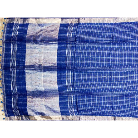 Navy blue checked linen handwoven Saree