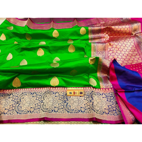 Henna green colored pure katan silk party wear Banarasi weave saree with silk mark