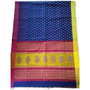 Royal blue printed handwoven silk cotton Maheshwari Saree