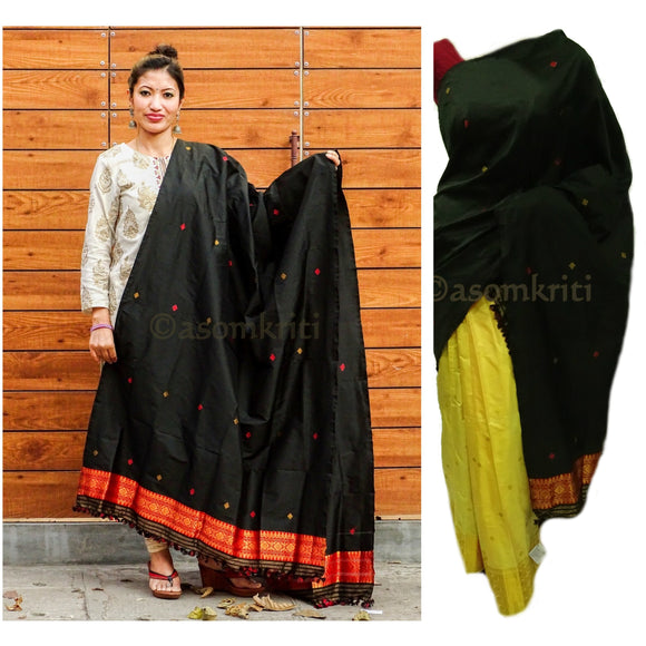 Black colored single chadar cum dupatta in semi paat silk