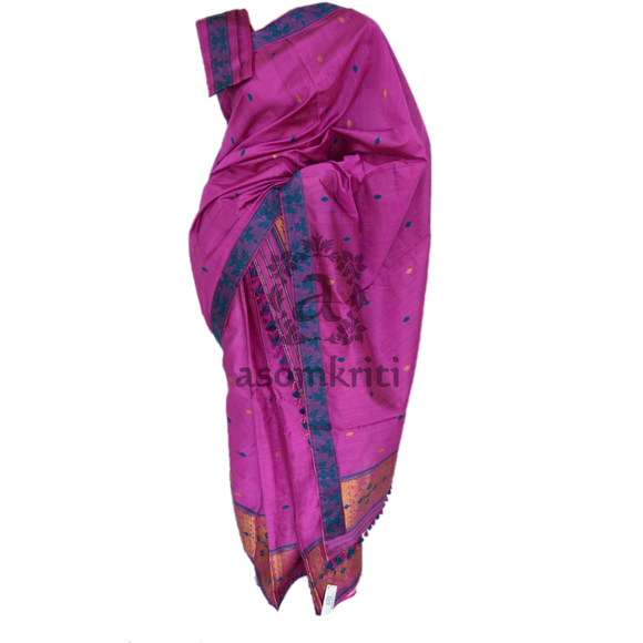 Assam cotton mekhela chadar in light fuchsia pink