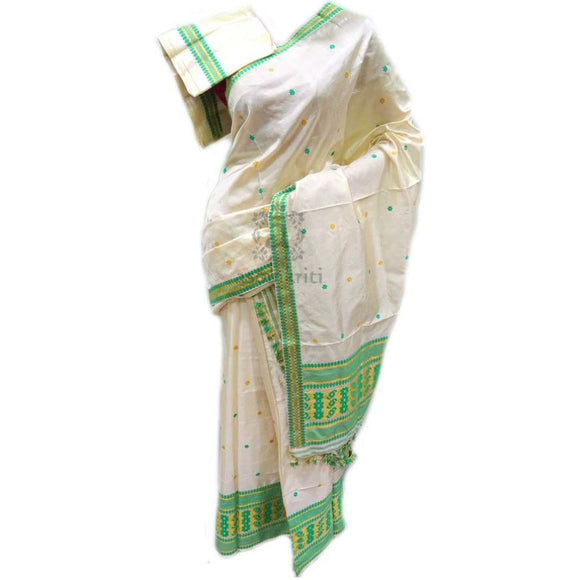 Natural white color pure paat silk mekhela chadar for casual use