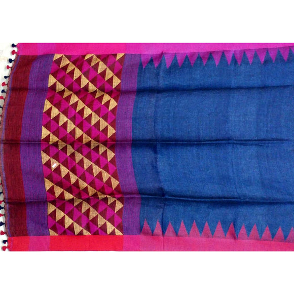 Royal blue handwoven linen Saree with small temple border