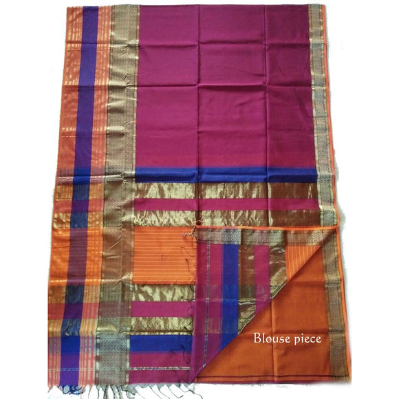 Magenta colored handwoven silk cotton Maheshwari Saree with zari golden border