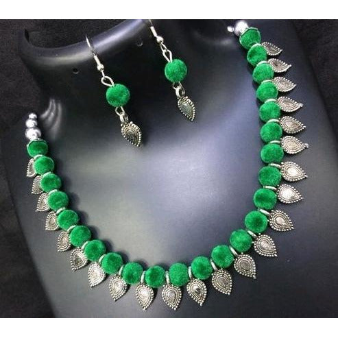 Green thread work german silver necklace and earrings set