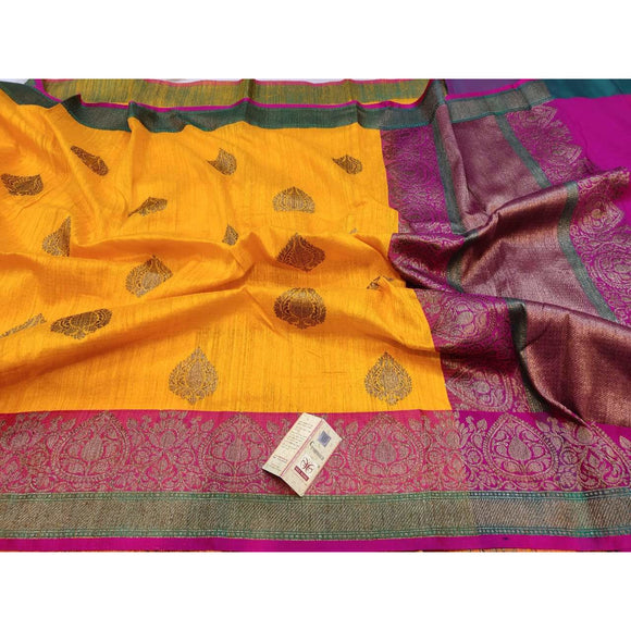 Pure Dupion silk Banarasi saree in fire yellow