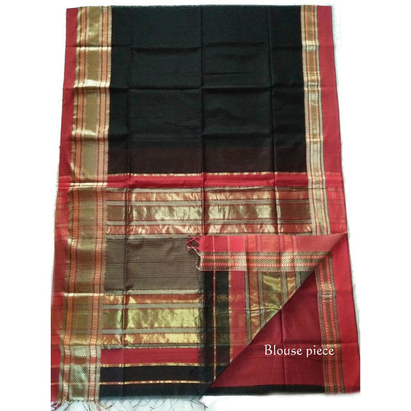 Black gorgeous silk cotton Maheshwari Saree with zari golden border