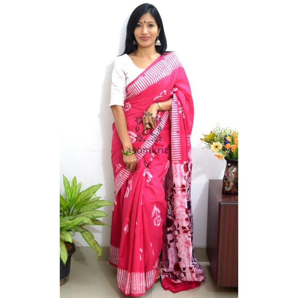 Dark reddish peach mulmul cotton saree for a comfort wear