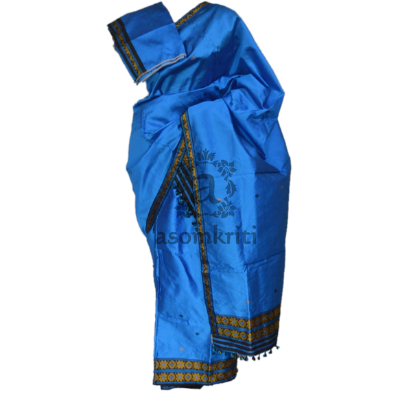 Gorgeous blue colored Ludhiana silk mekhela chadar perfect for a party wear