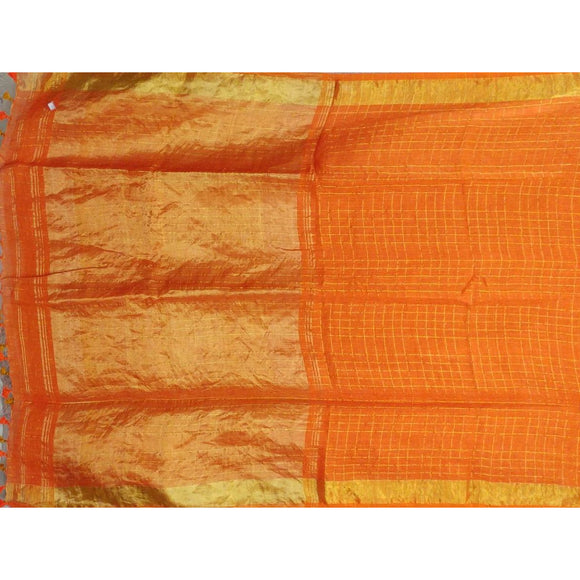 Bright orange colored checked linen Saree