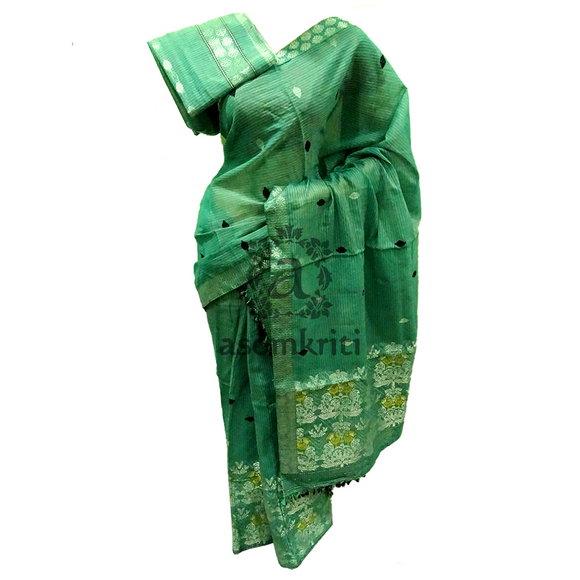 Assam cotton mercirised soft cotton mekhela chadar in pickle green