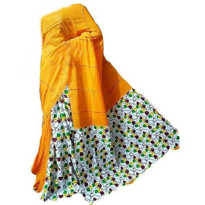 Yellow and printed half and half Khesh cotton handloom saree