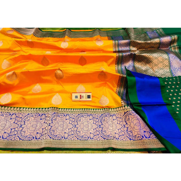 Canary yellow pure katan silk Banarasi weave saree with silk mark