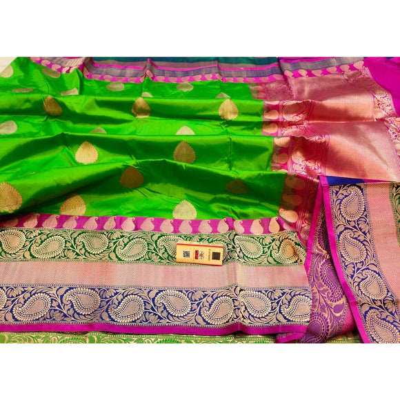 Henna green pure katan silk Banarasi weave saree with silk mark