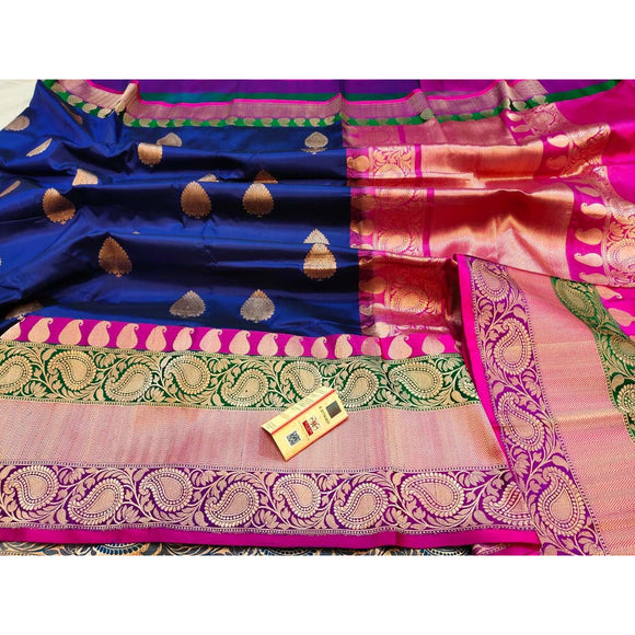Royal blue pure katan silk Banarasi weave saree with silk mark