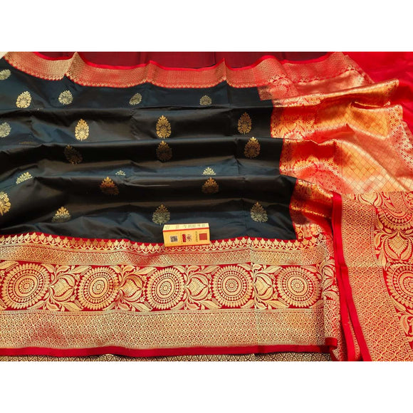 Black colored pure katan silk Banarasi weave saree with silk mark