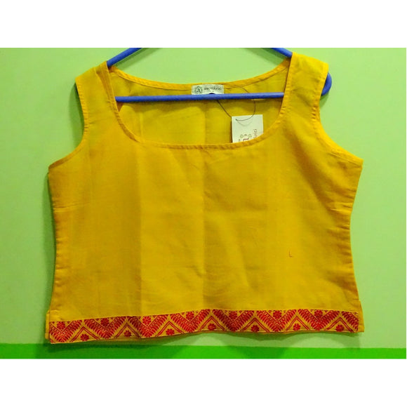 Yellow colored Assamese handwoven cotton tank top
