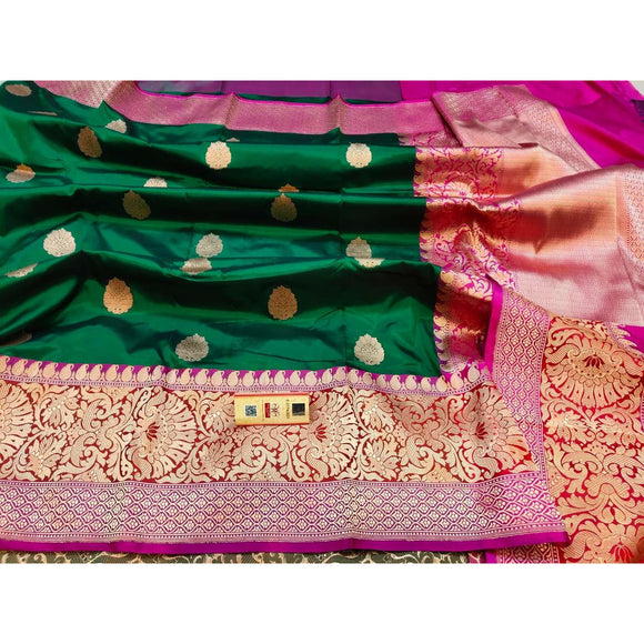 Bottle green colored pure katan silk party wear Banarasi weave saree with silk mark