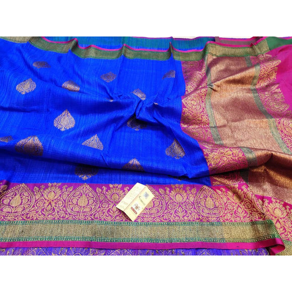 Royal blue Pure Dupion silk Banarasi saree perfect as a party wear