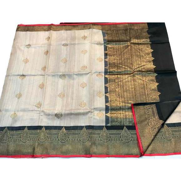 Pure Tussar silk handwoven saree with black border