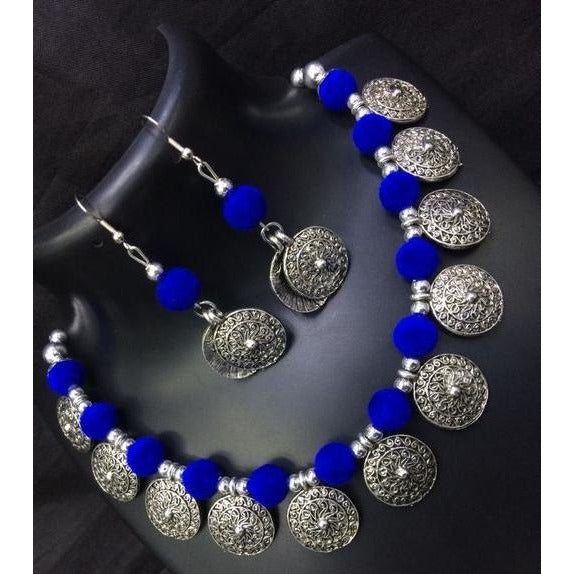 Royal blue thread work german silver necklace and earrings set
