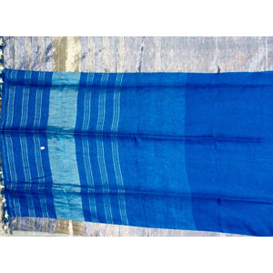 Royal blue Plain body linen Saree with small and big zari borders