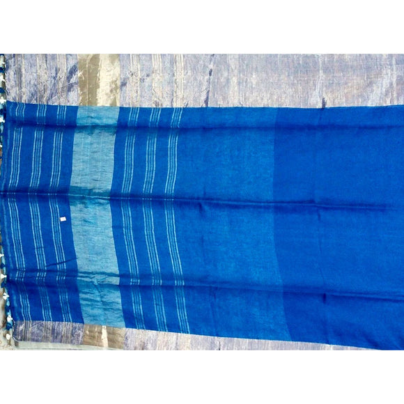 Royal blue Plain body pure linen Saree with small and big zari borders