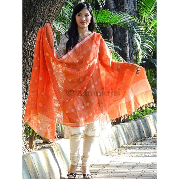Bright orange colored linen Dupatta which suits both as ethnic and western wear