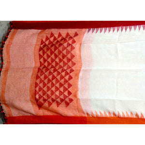 Pure white handwoven linen Saree with small temple border