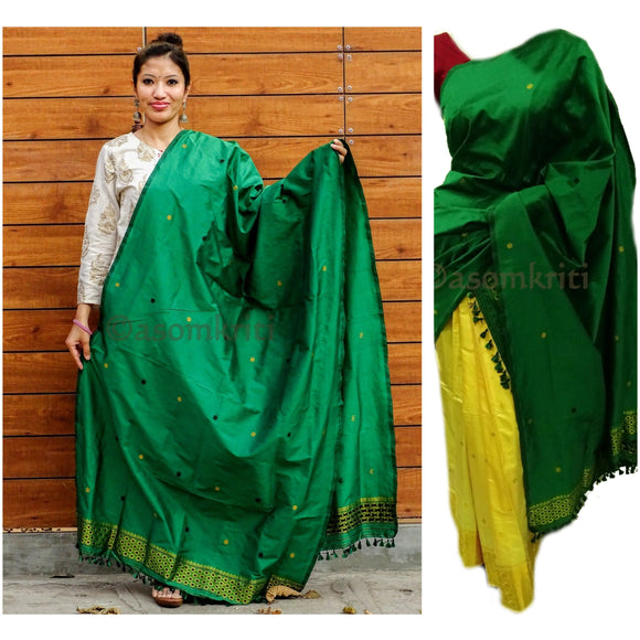 Bottle green colored single chadar cum dupatta in semi paat silk