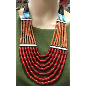 Multi-colored handmade Tribal Naga Necklace made of high quality glass Beads