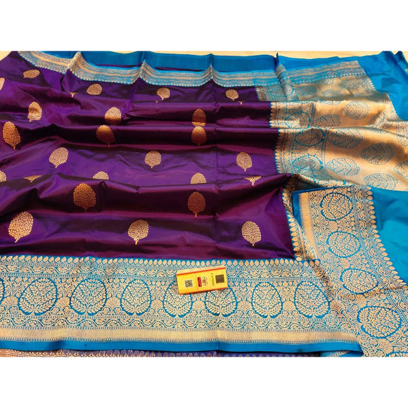 Dual tone purple colored pure katan silk Banarasi weave saree with silk mark