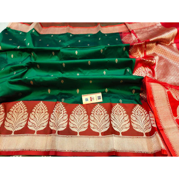 Bottle green party wear Pure katan silk Banarasi weave saree with silk mark