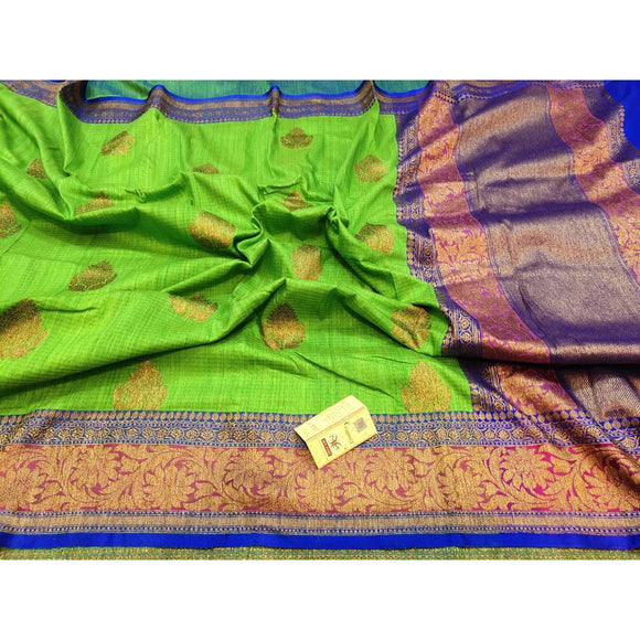 Pure Dupion silk Banarasi saree in henna green
