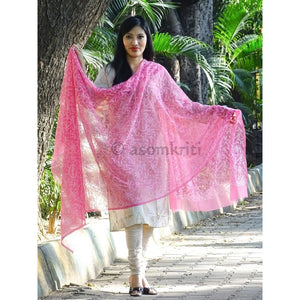 Pink colored Lucknow Chikankari dupatta with intricate allover Tepchi work (Click product for more color options)