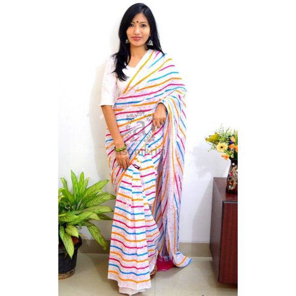 Gorgeous mulmul cotton saree with multi-colored stripes
