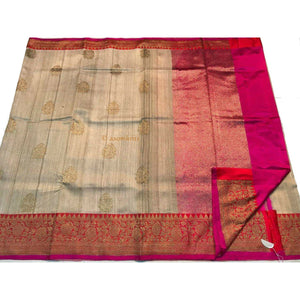 Gorgeous Pure Tussar silk handwoven white Saree with Pink border for a grand occasion
