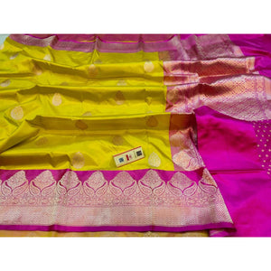 Mustard yellow colored pure katan silk party wear Banarasi weave saree with silk mark