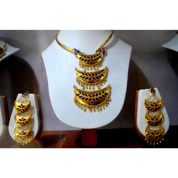 Junbiri design unique gorgeous pure silver and gold plated Assamese jewellery