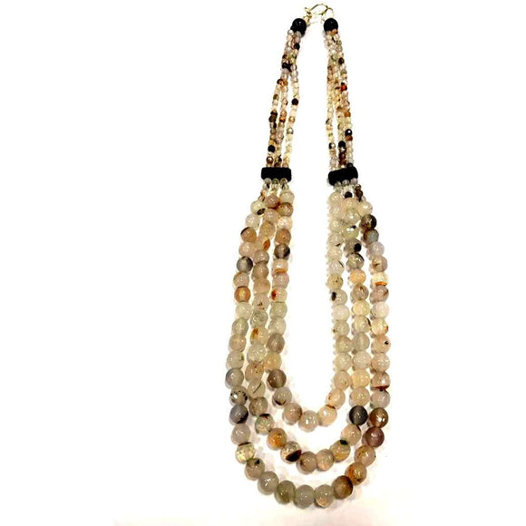 Elegant Off White Tribal Necklace made of Stone Onyx Beads