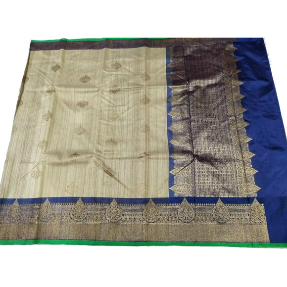 Pure Tussar silk handwoven saree with royal blue border