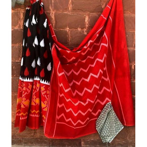 Red black soft mulmul cotton saree for a comfort wear
