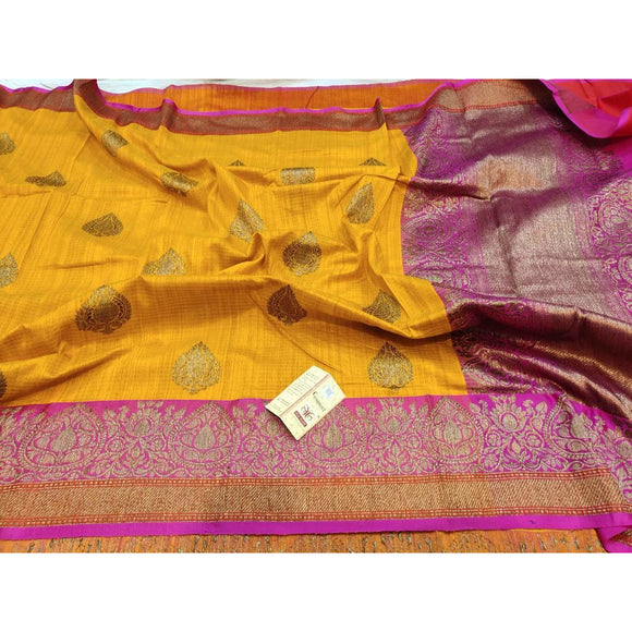 Canary yellow Pure Dupion silk Banarasi saree perfect as a party wear