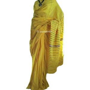 Yellow colored pure handloom premium quality Khesh cotton saree