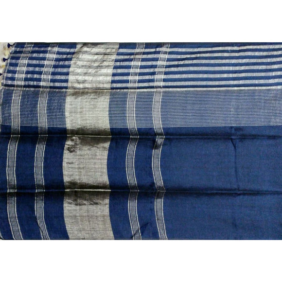 Navy blue colored Plain body linen Saree with small and big zari borders