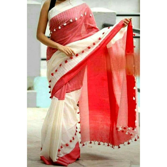 Red white handloom cotton saree with pom pom border (Click picture for more color options)
