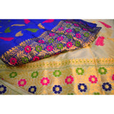 Pure toss chadar and pure paat silk mekhela in royal blue