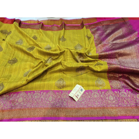 Mustard yellow Pure Dupion silk Banarasi saree perfect as a party wear