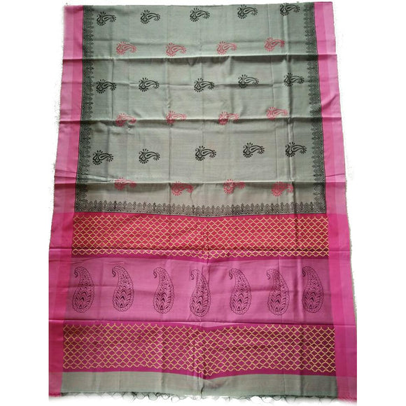 Printed in grey handwoven silk cotton Maheshwari Saree